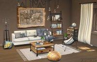 meble drewniane w pokoju